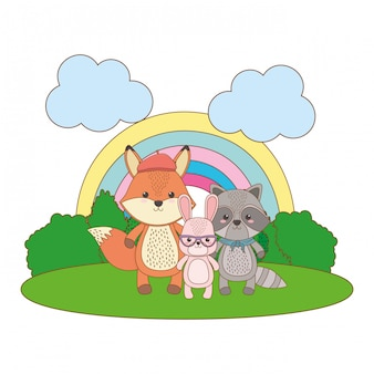 Мультфильм лиса енота и кролика