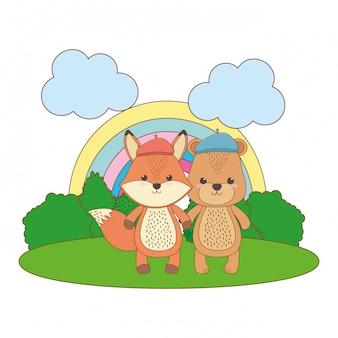 Мультфильм лиса и медведь в шляпе