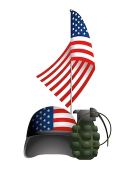 軍用ヘルメットと米国の州旗