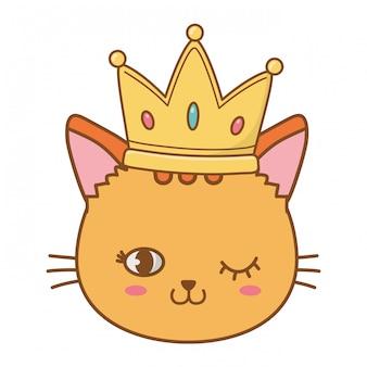 猫は王冠で目をウインクします。