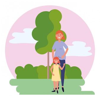 子供と妊娠中の女性の丸いアイコン