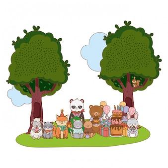 Милый мультфильм очаровательны животных