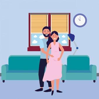 妊娠中のカップルのアバター