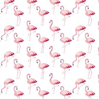 Тропические фламинго мультяшный бесшовные модели