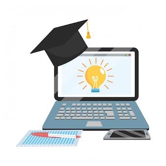 オンライン教育のラップトップ漫画