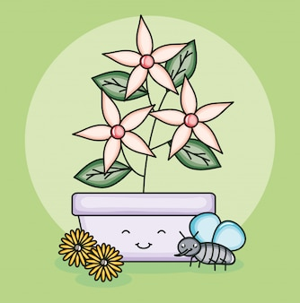 かわいいスタイルで飛んでいる昆虫と鍋に庭の花植物