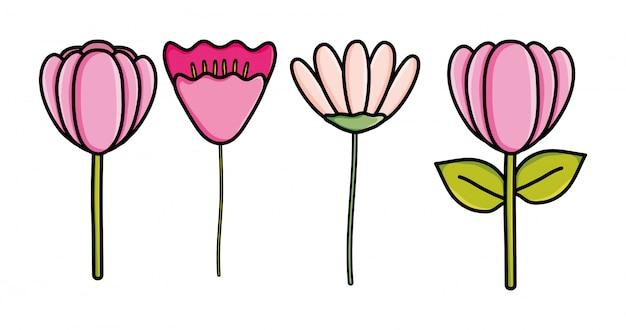 かわいい花の庭の装飾的なアイコン