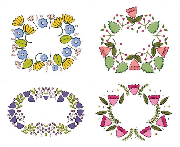 花の庭の植物の装飾的なフレームのセット