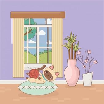 Маленькая кошка талисман в комнате дома