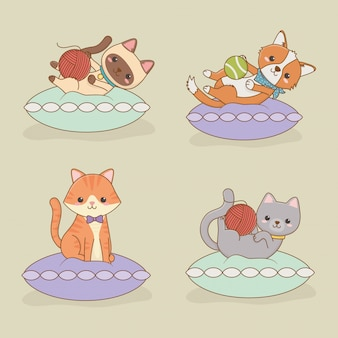 小さな猫と犬のマスコットキャラクター