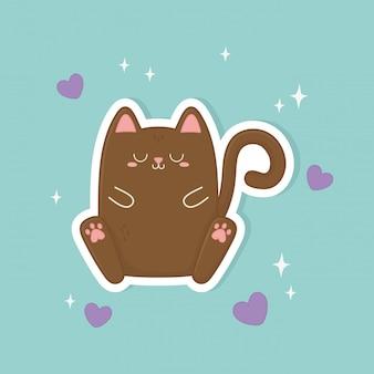 Забавный фэнтезийный кот каваий персонаж