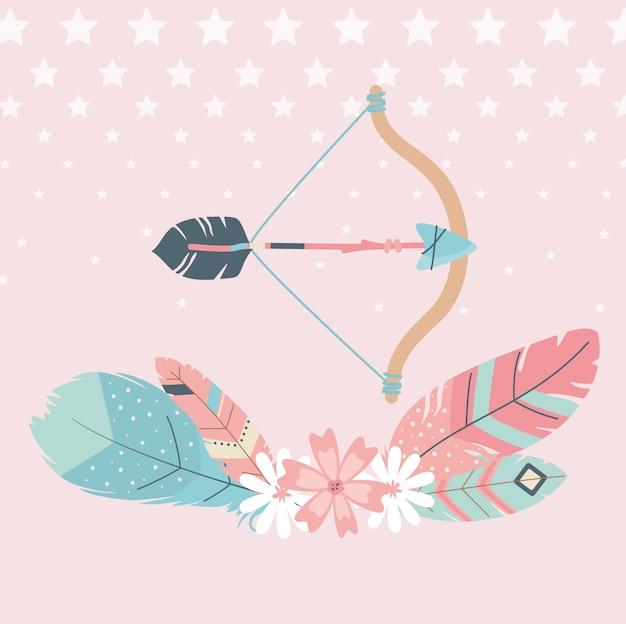 Цветы и перья со стрелками в стиле бохо