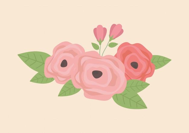 バラの花と葉の花輪の装飾