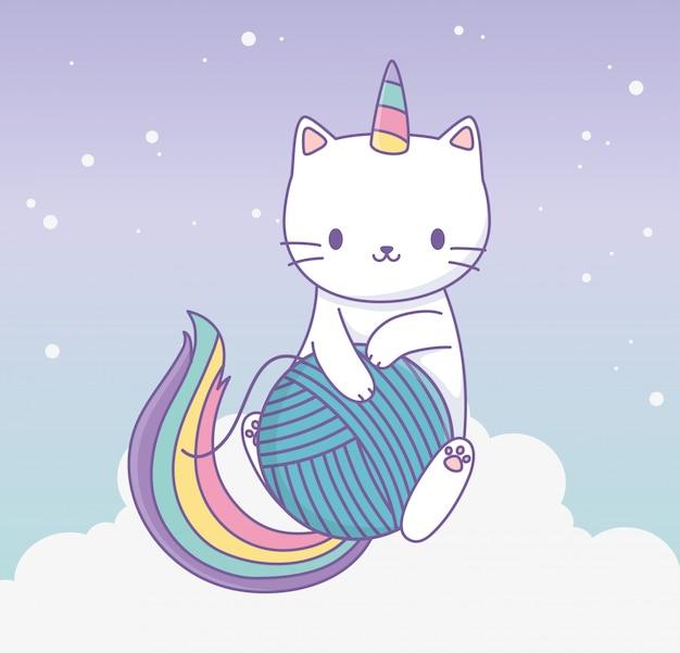 Милый кот с радужным хвостом и шерстяным шариком каваи
