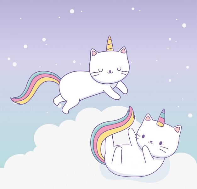 虹の尾のかわいいキャラクターとかわいい猫