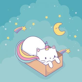 カートンボックスのかわいいキャラクターで虹の尾を持つかわいい猫