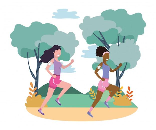 スポーツウェアで走っている女性