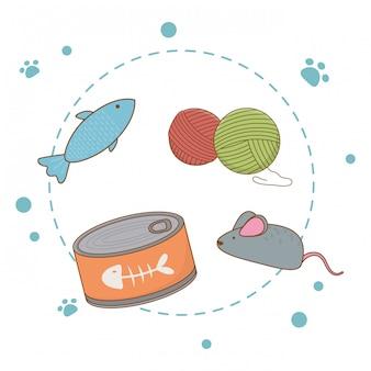 猫用の食べ物とおもちゃ