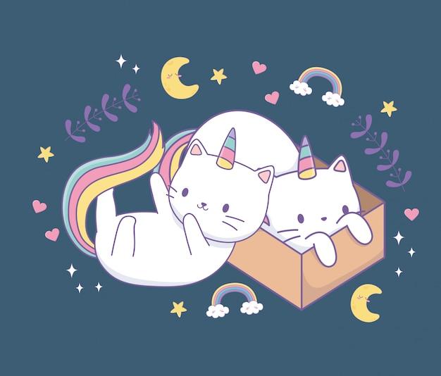 Симпатичные кошки с радужным хвостом и картонной коробкой персонажей каваи