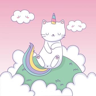 キャンプのかわいいキャラクターで虹の尾を持つかわいい猫