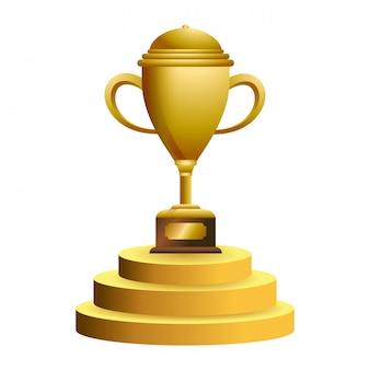 表彰台のシンボルのトロフィーカップ