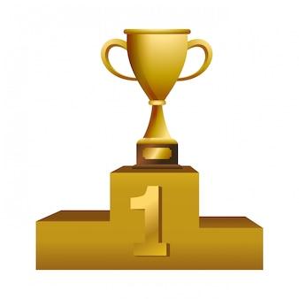 表彰台で優勝杯