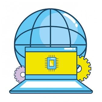 Технология ноутбука мультяшный