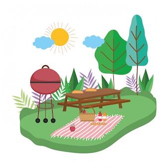 孤立したピクニック用のテーブル