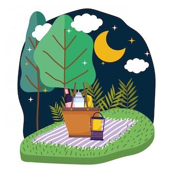 夜の孤立したピクニック