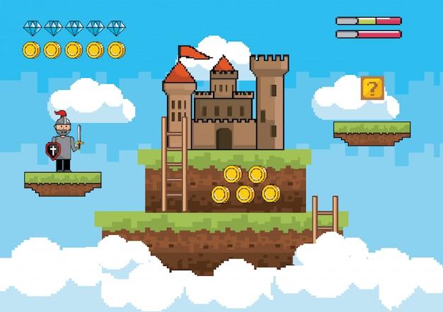 Сэр мальчик с замком и лестницы с монетами и бриллиантами баров