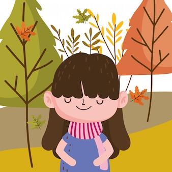 Мультфильм девушка в осеннем сезоне дизайн