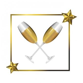 Роскошная и элегантная рамка с бокалами для шампанского мультяшный