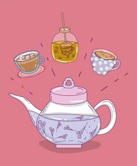 Эскиз времени чая плоский
