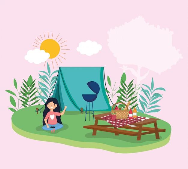 公園で若い人たちのピクニック