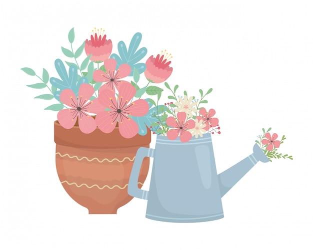 Цветочный горшок и лейка