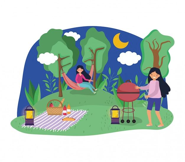 Молодежь устраивает пикник в парке
