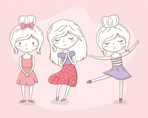Группа красивых маленьких девочек в пастельных тонах