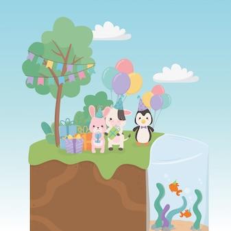 フィールドのキャラクターの小さな動物の誕生日カード