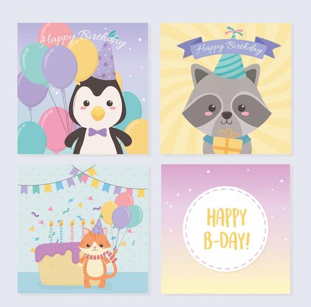 小さな動物のキャラクターと誕生日カードセット