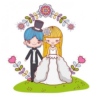 結婚式のカップル漫画