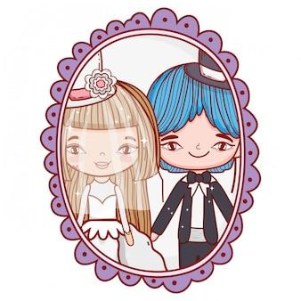 結婚式のカップルの写真の絵