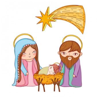 クリスマスのキリスト降誕のシーンの漫画