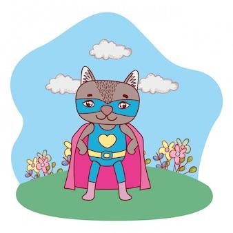 スーパーヒーローリス屋外風景風景漫画