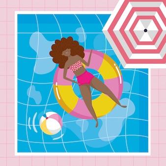 夏の水着の女の子
