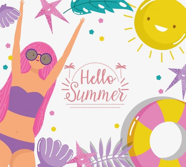 女性こんにちは夏休み