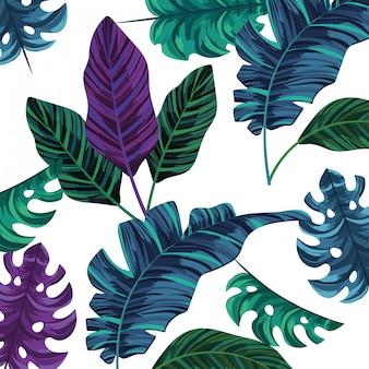 Природа листьев мультфильм шаблон фона