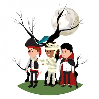 Дети с костюмом и стеблем дерева с ветками