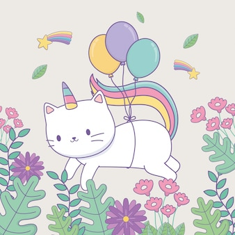 Милый котик с цветочным декором и воздушными шарами гелием