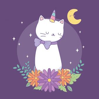 Милый катикорн с цветочным декором на ночь