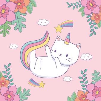 Милый котик с цветочным декором и радугой